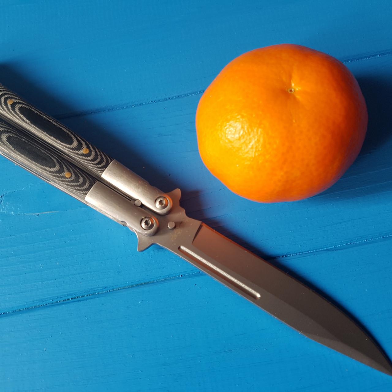 Нож складной-бабочка B7 филипинский , накладки из черного дерева  Сталь 440с