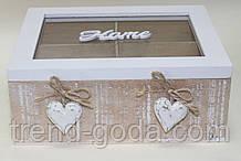 Коробка деревянная для чая, белая с сердечками, 4 отделения, 20х16х8