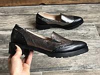 Туфли 475-3 никель кожа+черн кожа (острый нос), фото 1