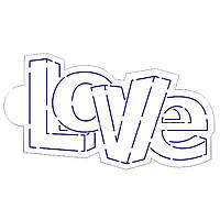 Надпись LOVE рафарет для пряников 7*12 см (TR-2)