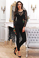 Стильный женский длинный комбинезон с вышивкой 90271