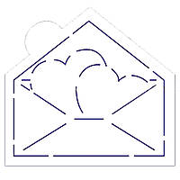 Конверт з серцями трафарет для пряників 10*10 см (TR-2)