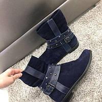 Женские ботинки темно-синего цвета натуральная замша весна-осень один 41р