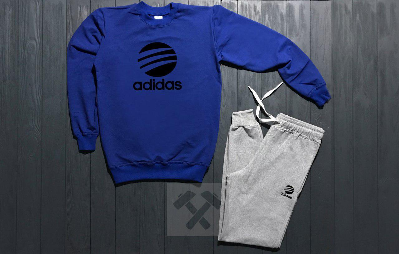 Костюм спортивный Adidas сине - серый топ реплика