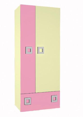 Шафа в дитячу кімнату з ДСП/МДФ Labirynt-1 ваніль+розовий Blonski