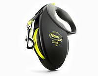Поводок-рулетка Flexi GIANT Neon (Флекси Джаент) Tape М лента 8 м для собак до 25 кг (черный)