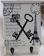 Ключница деревянная, Крючки,настенная белая 27х20х7 см, фото 1