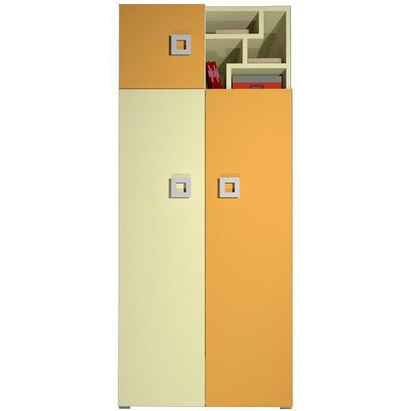 Шафа в дитячу кімнату з ДСП/МДФ Labirynt-2 ваніль+жовтий Blonski