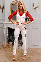 Стильный женский длинный комбинезон с вышивкой 90271/2