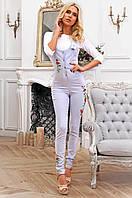 Стильный женский длинный комбинезон с вышивкой 90271/3