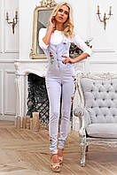 Стильный женский длинный комбинезон с вышивкой 90271/3, фото 1