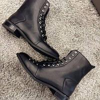 женские стильные ботинки натуральная кожа на ровном ходу черные