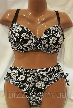 Женский раздельный купальник 52 54 56 58 60 р черный с белым 52, фото 2