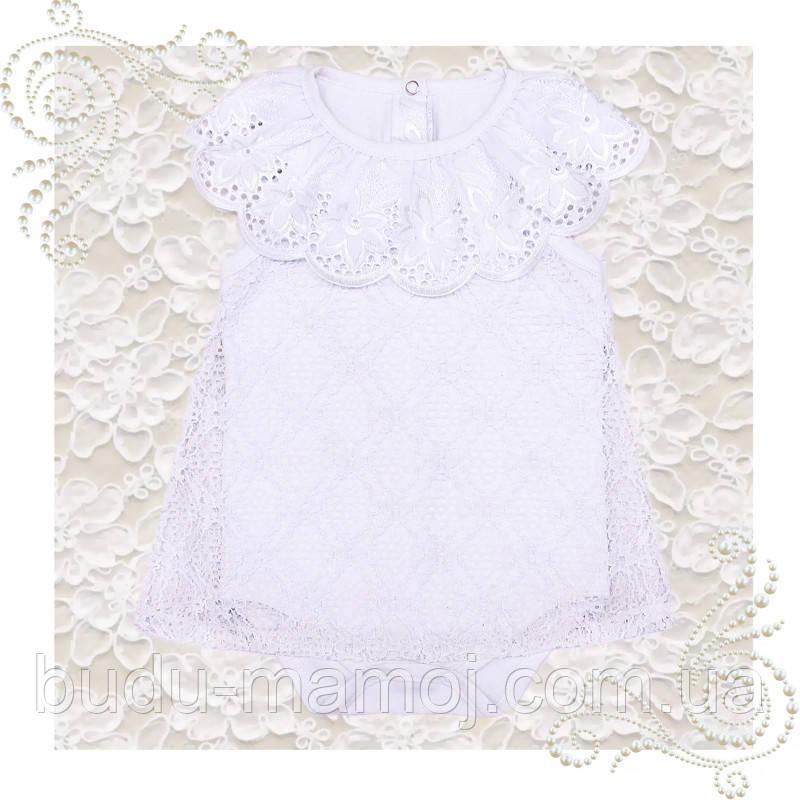 Боди платье для крещения девочки нарядный белый бодик