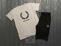 Летний спортивный костюм, комплект Fred Perry (серый + черный)