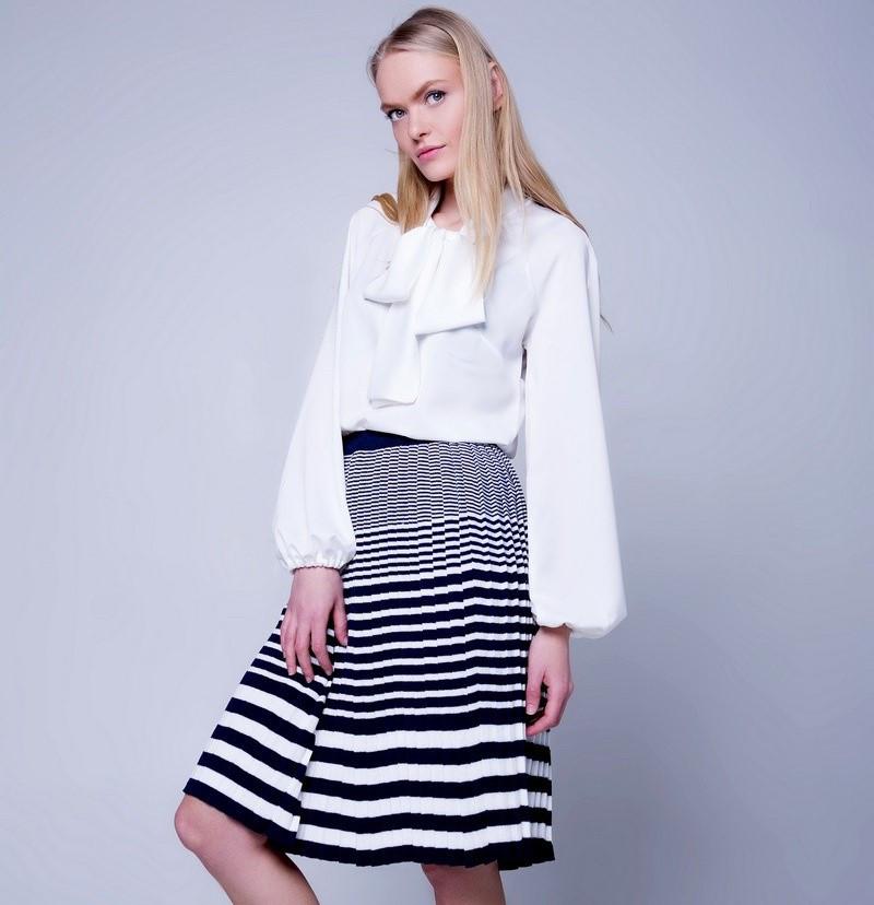 Женская плиссированная юбка в складку в полоску