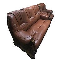 Комплект кожаной мебели 5030. Кожаный трехместный диван + 2 кресла