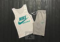 Летний спортивный костюм, комплект Nike Sportswear (белый + серый)