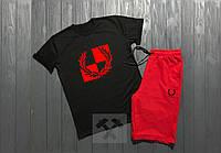 Летний спортивный костюм, комплект Fred Perry (черный + красный)