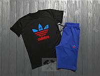 Летний спортивный костюм, комплект Adidas (черный + синий)