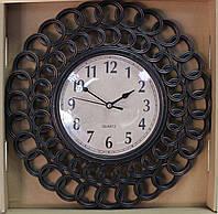 Часы настенные, коричневые, затертость под бронзу, арабские цифры