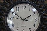 Часы настенные, коричневые, затертость под бронзу, арабские цифры, фото 2