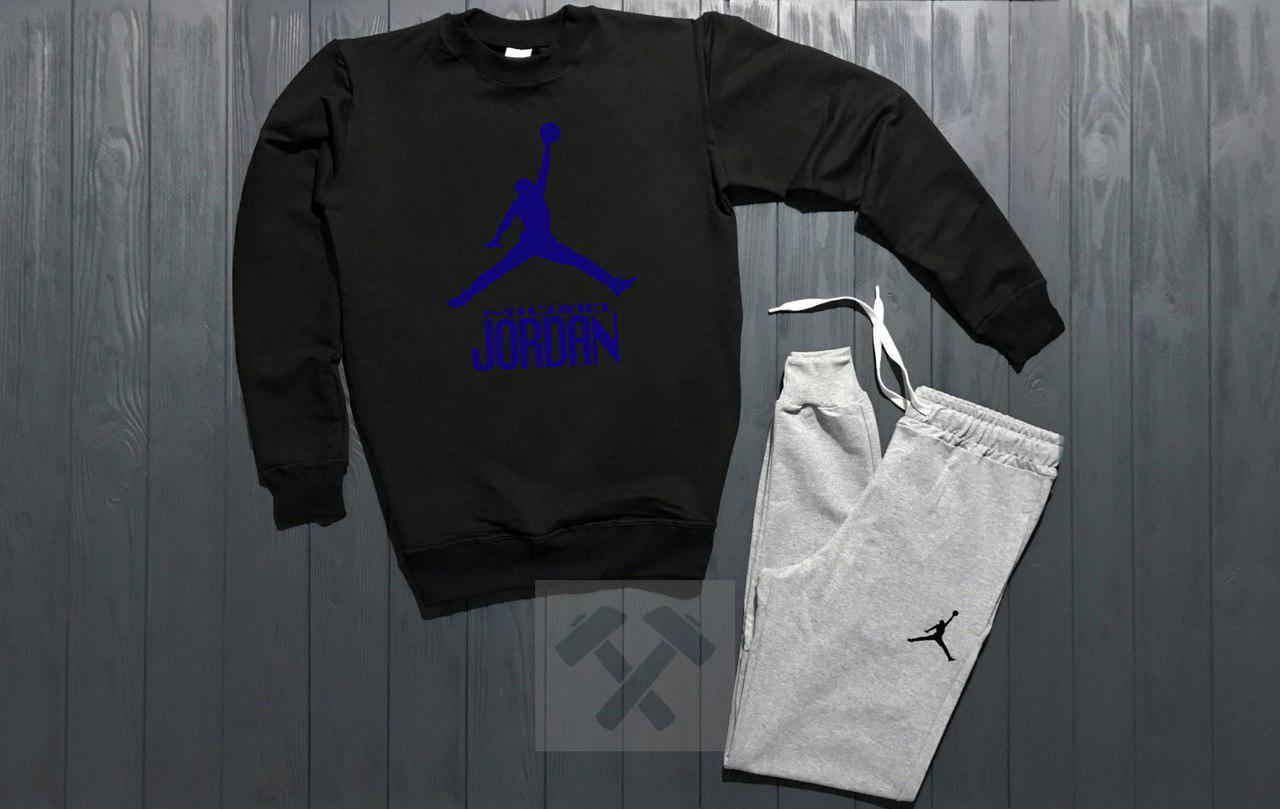 Костюм спортивный Nike Jordan черно - серый топ реплика