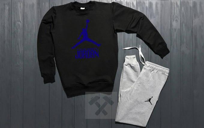 Костюм спортивный Nike Jordan черно - серый топ реплика, фото 2