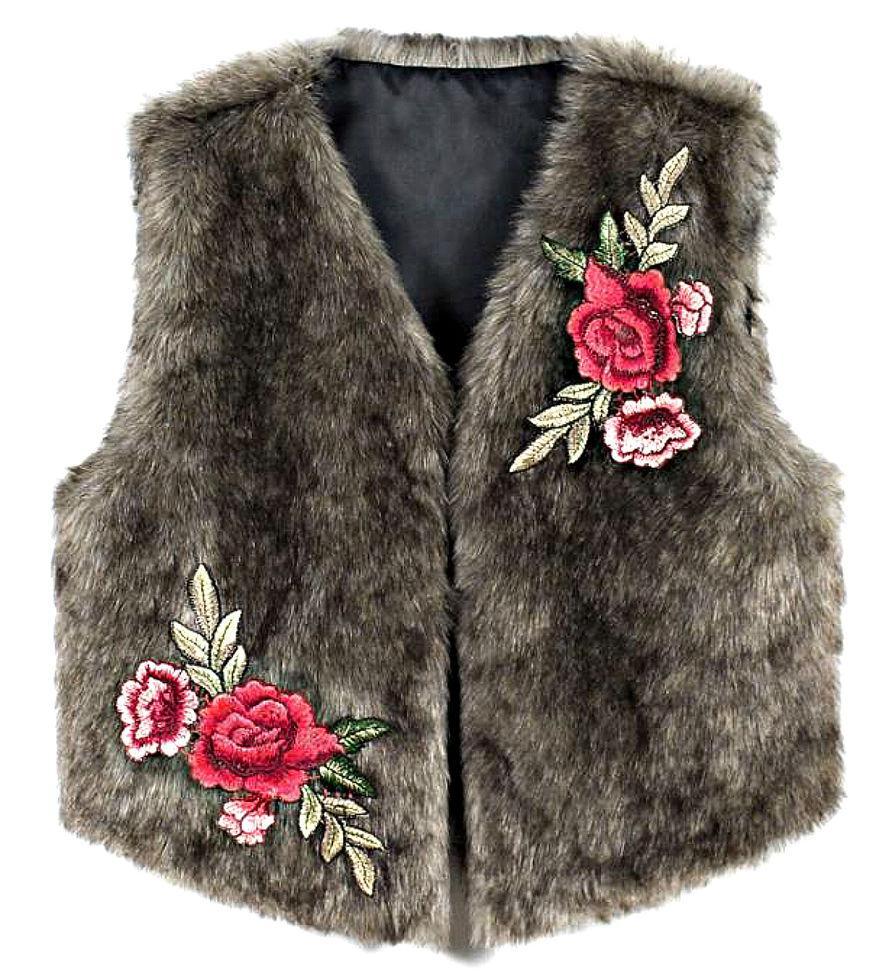 Жилет из на зимнем меху для женщин с цветочной вышивкой.