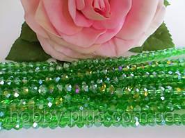 Бусины хрустальные 6х4 мм, 48-50 шт, цвет светло-зеленый (с АБ напылением)