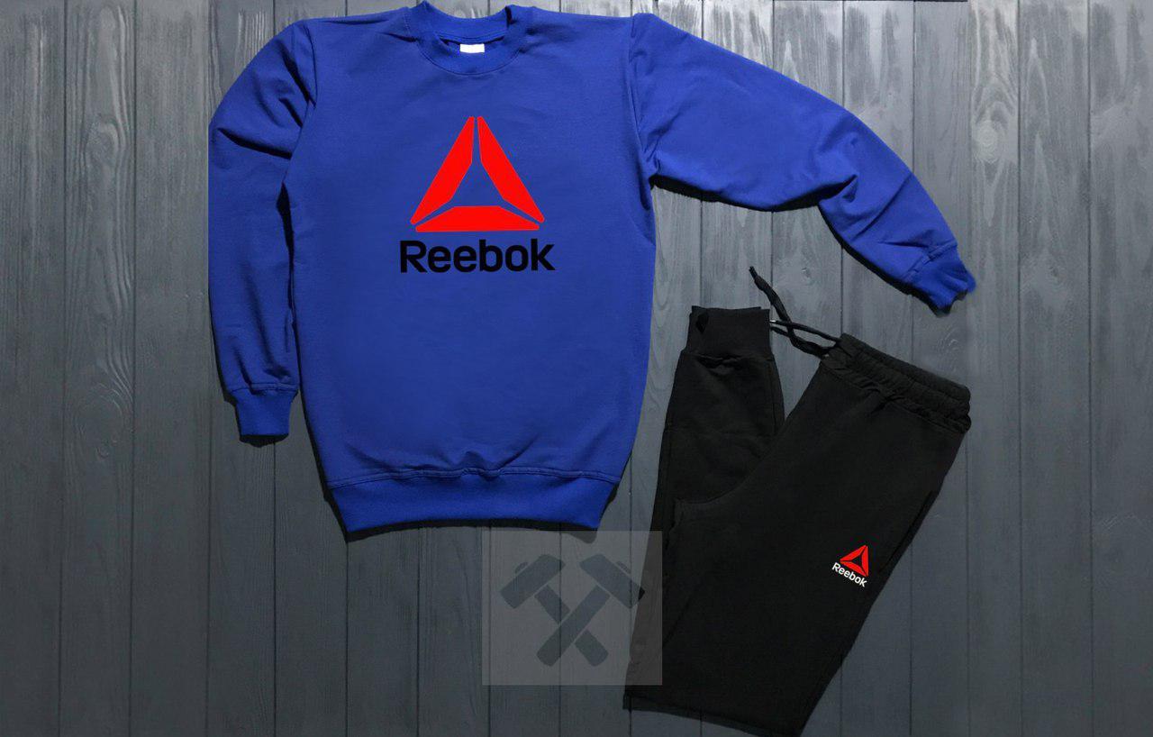 Костюм спортивный Reebok сине - черный топ реплика
