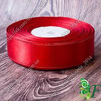 026-Атласная лента с люрексом 25мм красная/серебро