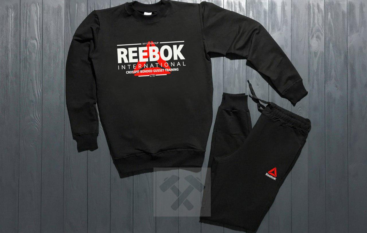 Костюм спортивный Reebok черный топ реплика