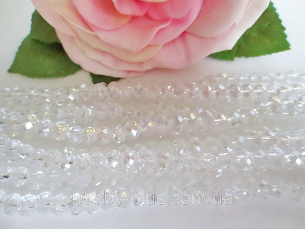 Бусины хрустальные 6х4 мм, 48-50 шт, цвет белый (прозрачный с АБ напылением)