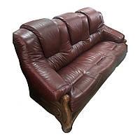 Комплект кожаной мебели Аполло. Трехместный кожаный диван и 2 кресла
