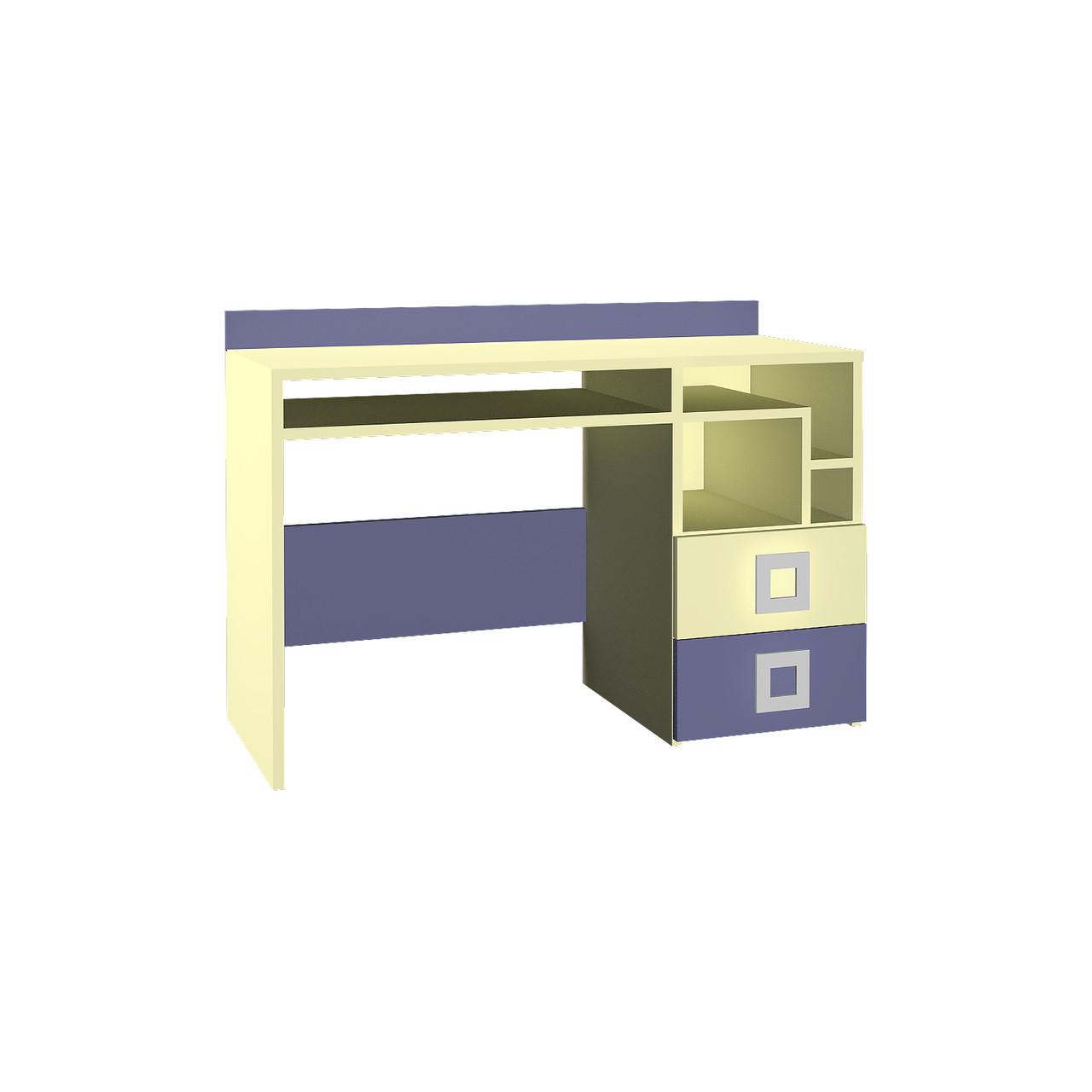 Стіл в дитячу кімнату з ДСП/МДФ правий Labirynt-18 ваніль+синій Blonski