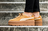 Женские кроссовки ХИТ 2018 года Rihanna x Puma Fenty Suede Cleated Creeper Golden Brown/Lark