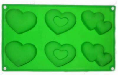 Форма силиконовая для выпечки и желе Сердечко (6 шт. на листе) 29х17 см.