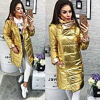 Куртка-пальто,Хит-продаж,демисезонная (арт. 1002) желтое золото
