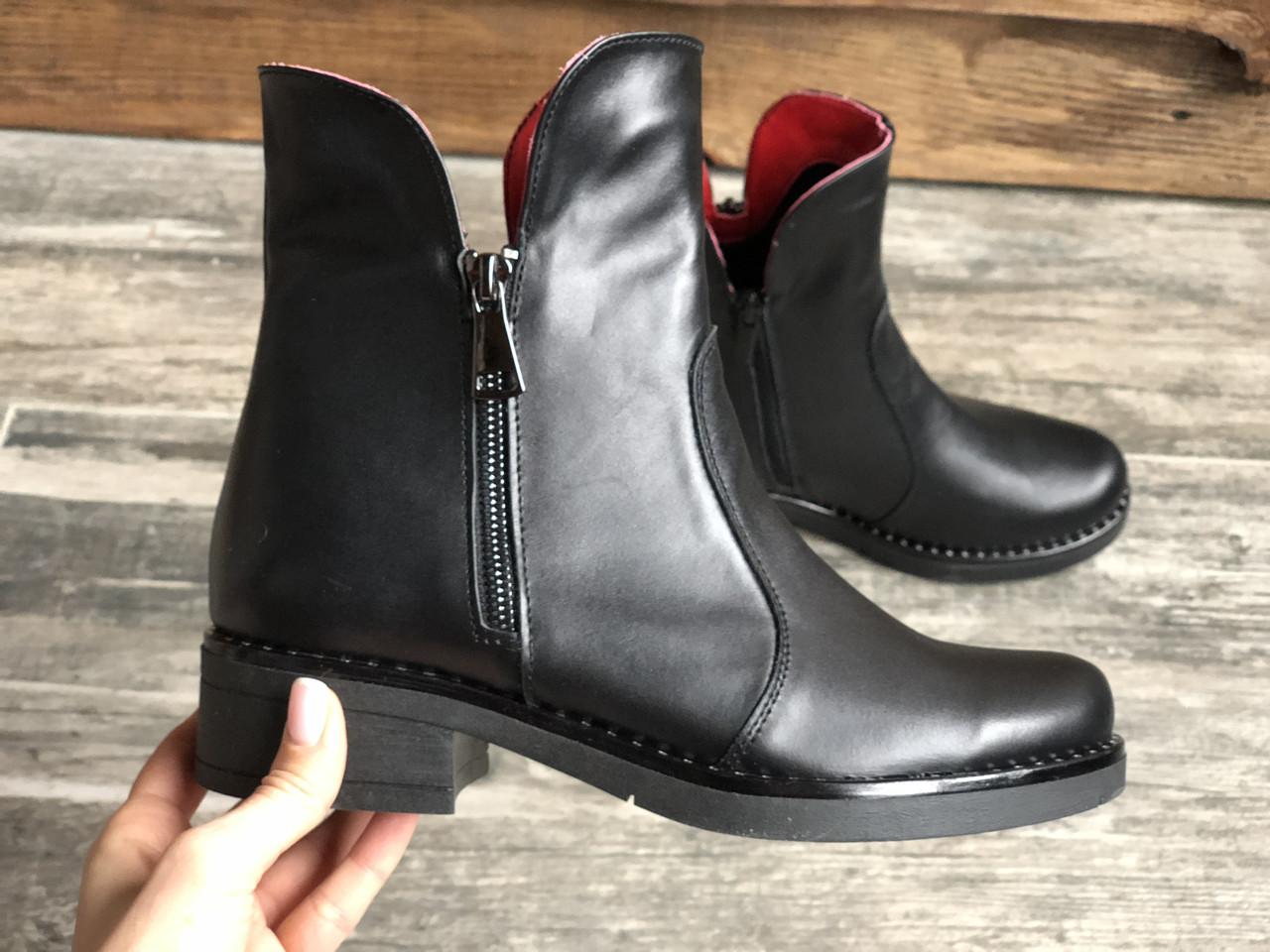 Ботинки №463-1 черная кожа (брук гвозди)