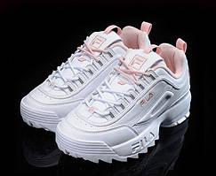 Женские кроссовки Fila Disruptor II Pink/White  (Реплика)