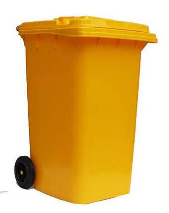 Контейнер для мусора 240 литров бак на колесах желтый емкость Тип В 200 250 300, фото 2