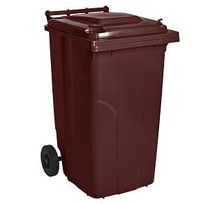 Контейнер для мусора 240 литров бак на колесах коричневый емкость Тип А 200 250 300, фото 2