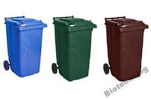 Контейнер для мусора 240 литров бак на колесах коричневый емкость Тип А 200 250 300, фото 3