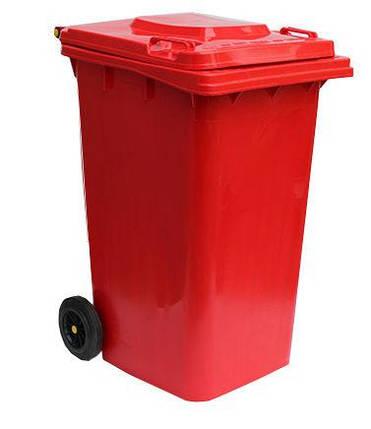 Контейнер для мусора 240 литров бак на колесах красный емкость Тип В 200 250 300, фото 2