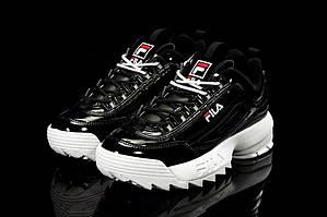 Женские кроссовки Fila Disruptor II черные с белым (Реплика)