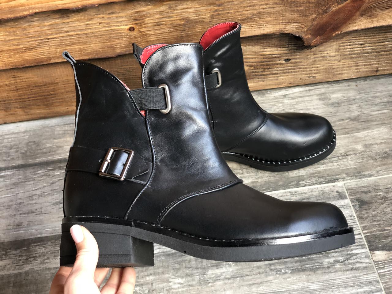 Ботинки №465-1 черная кожа (брук гвозди)