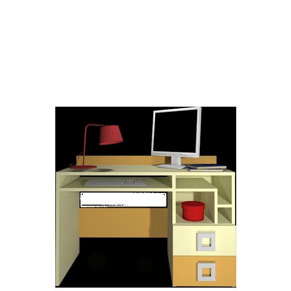 Стіл в дитячу кімнату з ДСП/МДФ правий Labirynt-18 ваніль+жовтий Blonski