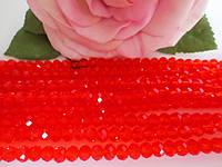Бусины хрустальные 6х4 мм, 48-50 шт, цвет красный (прозрачный)