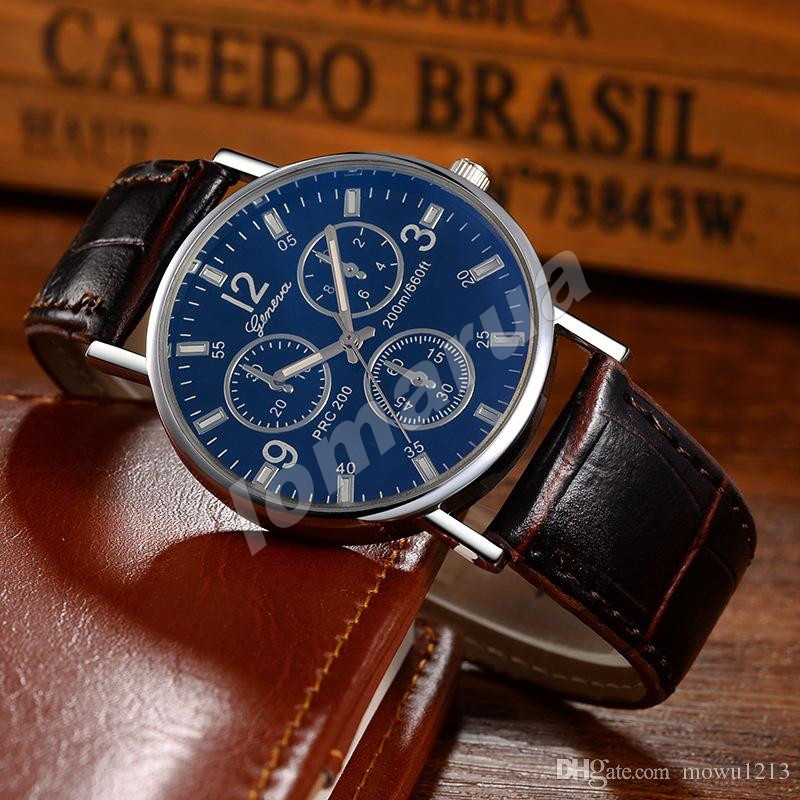 Мужские кварцевые часы Geneva Silver Brown stripe